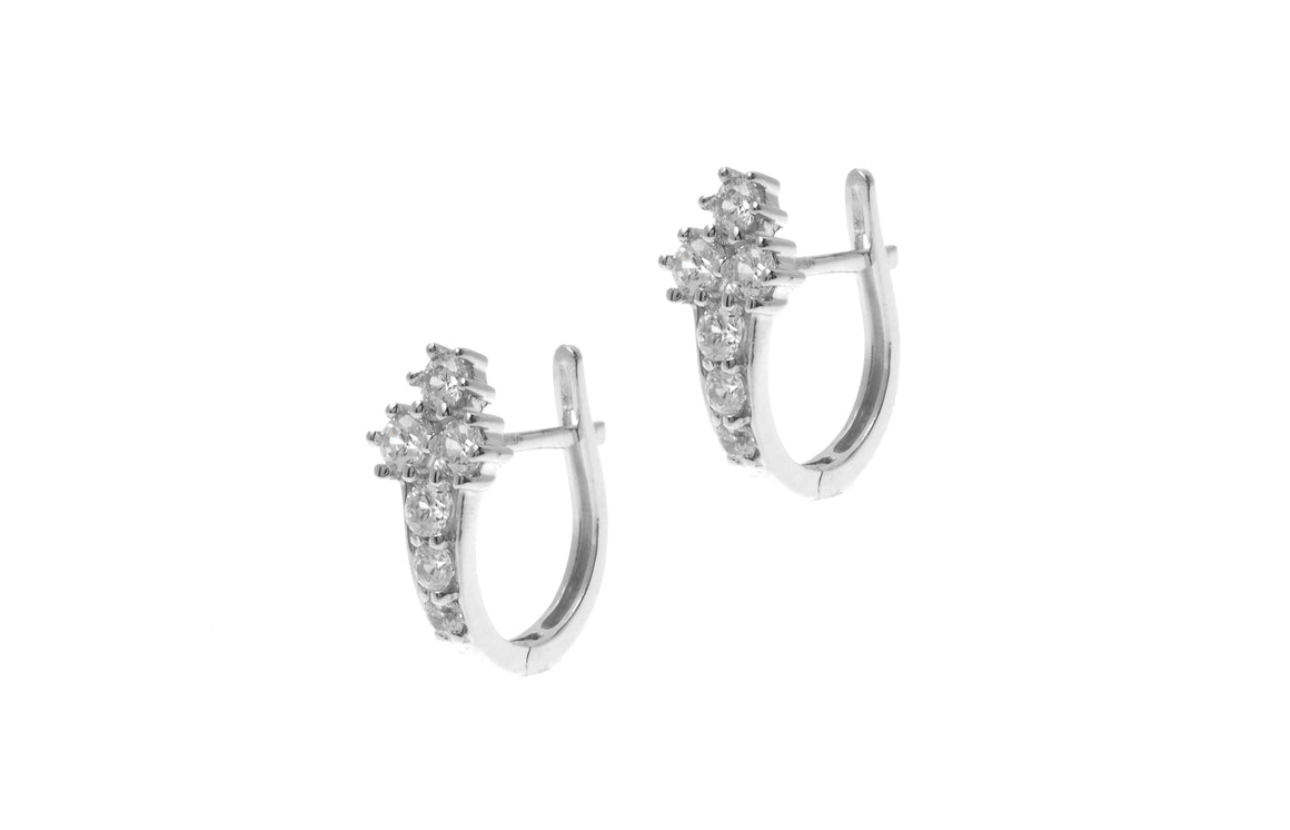 18ct White Gold Hoop Earrings set with Cubic Zirconia stones (BET10009)