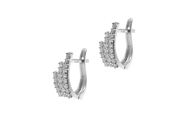 18ct White Gold Hoop Earrings set with Cubic Zirconia stones (BET10029)