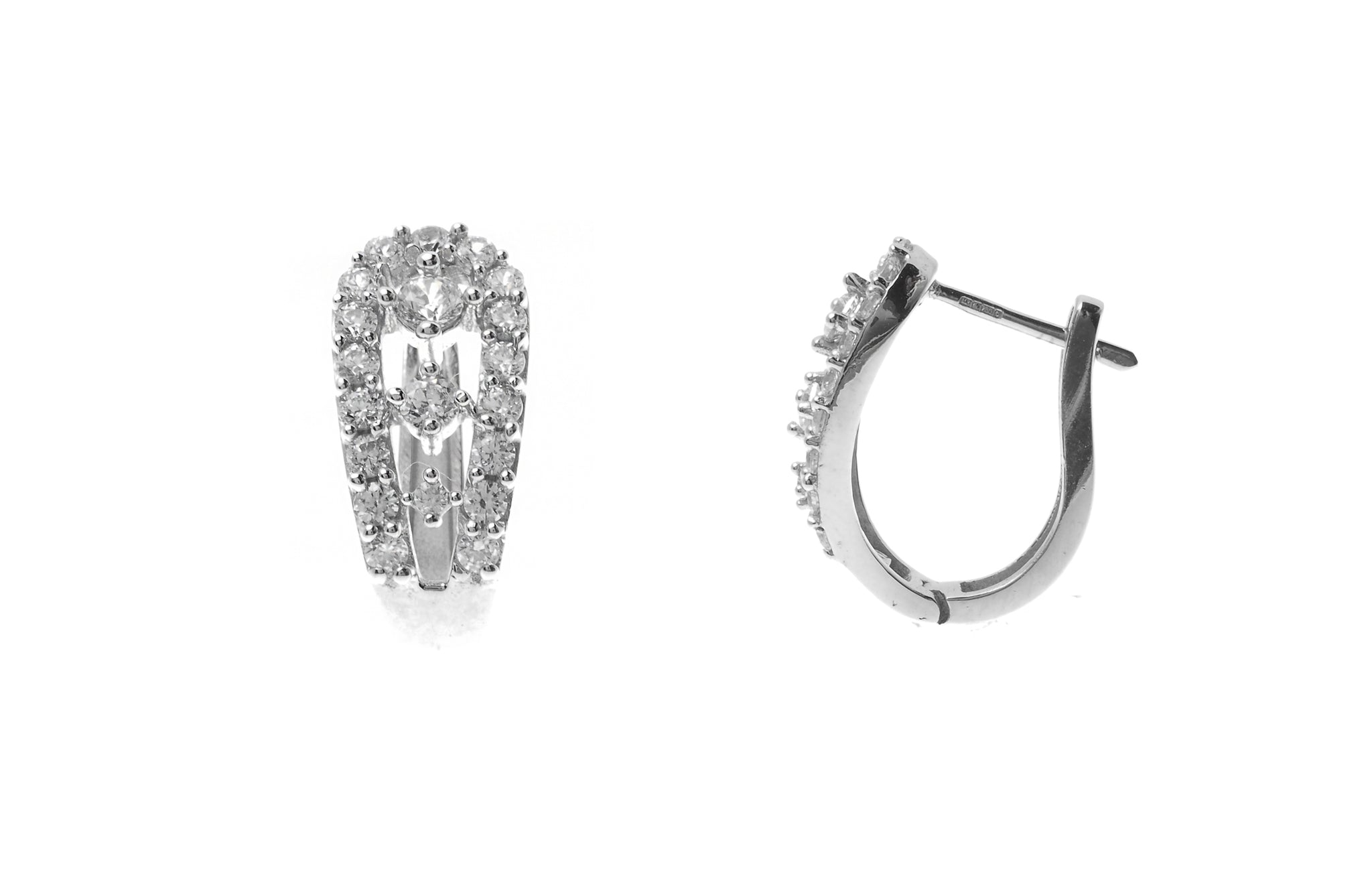 18ct White Gold Hoop Earrings set with Cubic Zirconia stones (4.91g) (BET12026)