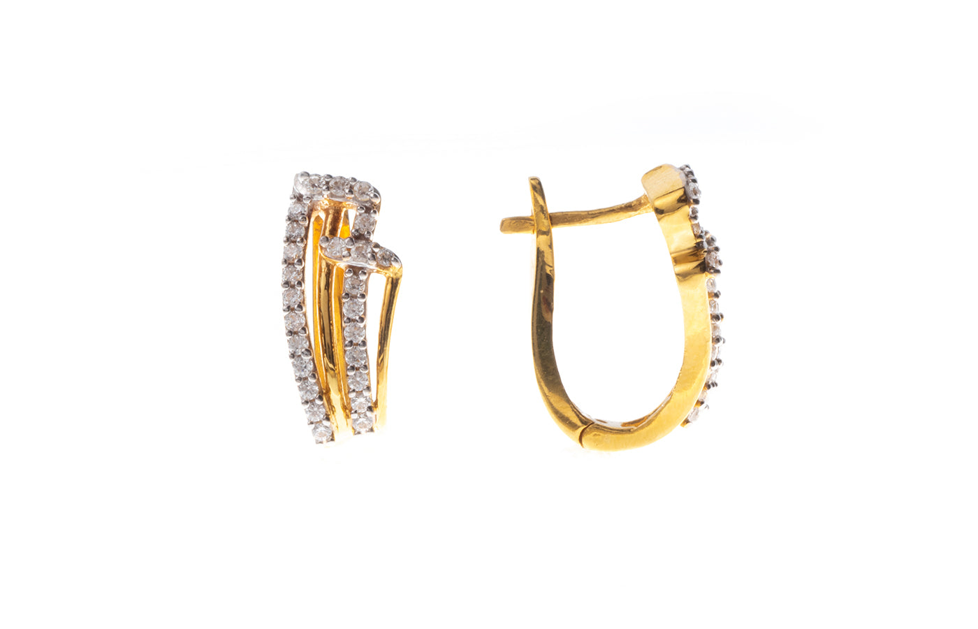 22ct Gold Hoop Earrings set with Swarovski Zirconias (6.83g) BET13026