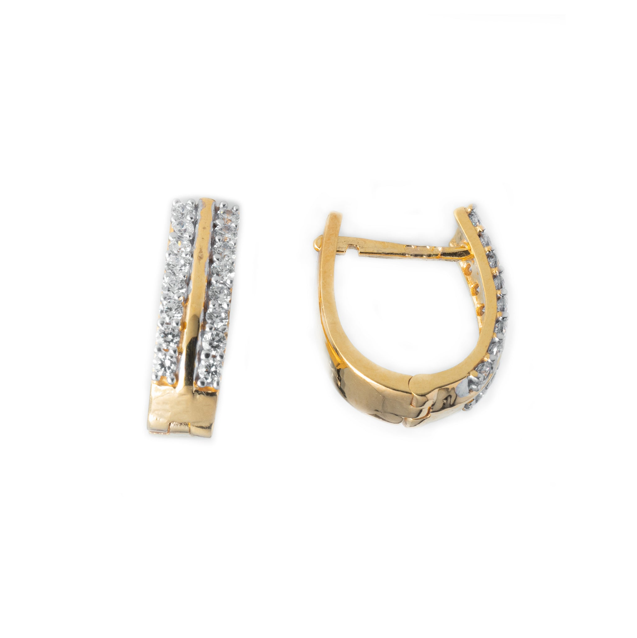 22ct Gold Swarovski Zirconia set Hoop Earrings (5.18g) BET14078