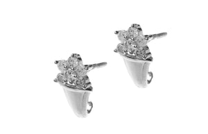 18ct White Gold Earrings set with Cubic Zirconia stones (BET7046)