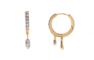22ct Gold Hoop and Drop Earrings set with Cubic Zirconia stones (5.76g) (BET7065)
