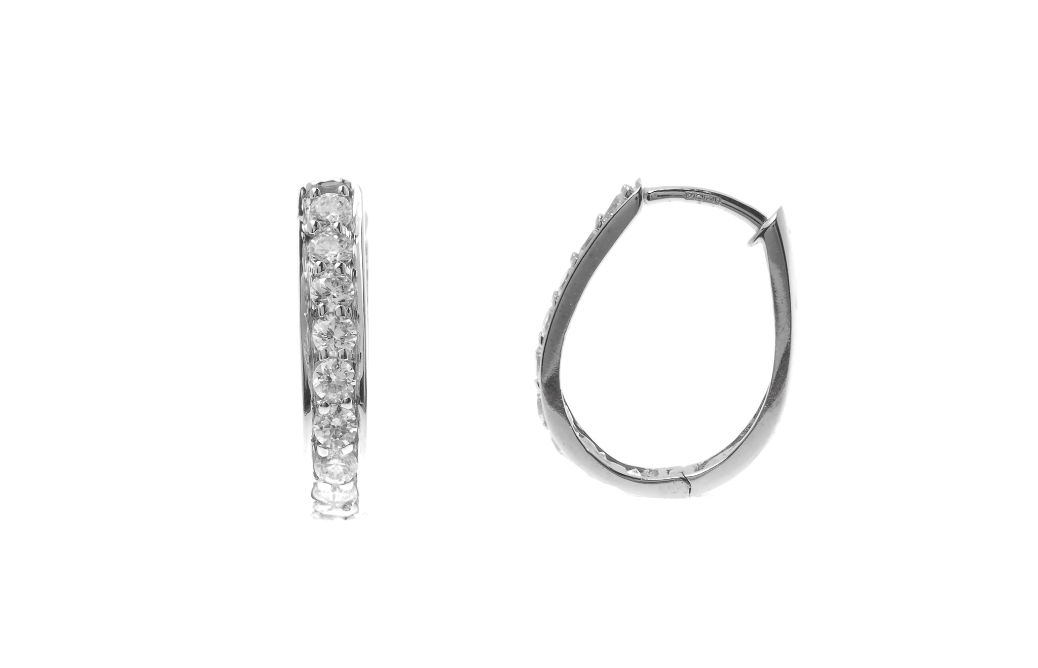 18ct White Gold Hoop Earrings set with Cubic Zirconia stones (3.48g) (BET8019)