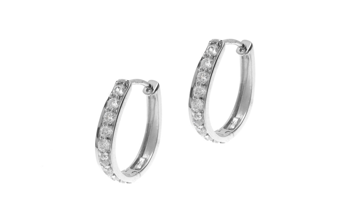 18ct White Gold Hoop Earrings set with Cubic Zirconia stones (BET8019)