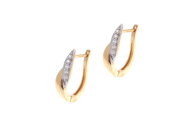 22ct Gold Hoop Earrings set with Cubic Zirconia stones (2.84g) BET9002