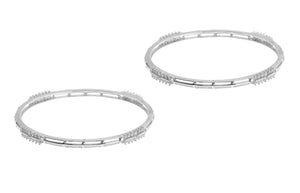 18ct White Gold Bangle with Cubic Zirconia Stones BG9023