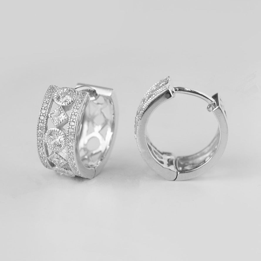 Huggies Sterling Silver Micro Pave Cubic Zirconia Earrings BP0436
