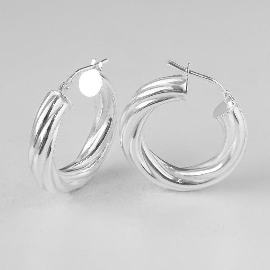 Creole Twist Round Hoops Sterling Silver Earrings BP9142