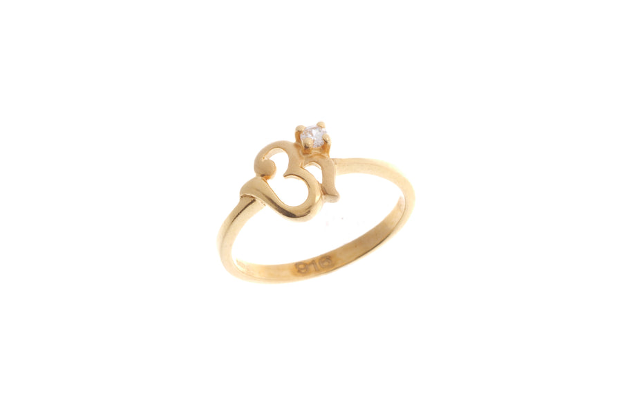 22ct Yellow Gold Cubic Zirconia Children's Om Ring (BR-6912)