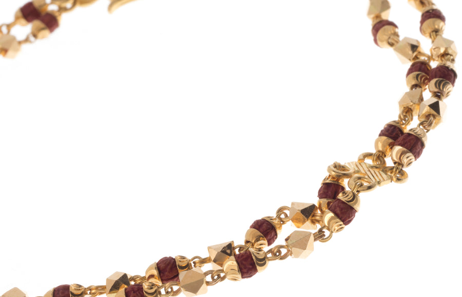 22ct Gold Bracelet with twin rows of Rudraksh and Diamond Cut Design (10.8g) BR-7314