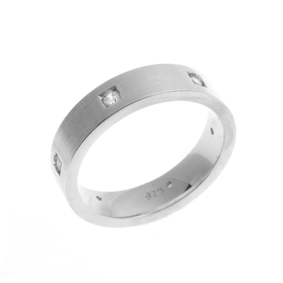 Brushed Sterling Silver Gents Wedding Band set with Cubic Zirconia Stones (BS0051)