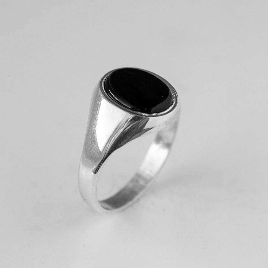 Sterling Silver Gents Black Onyx Ring BS0102