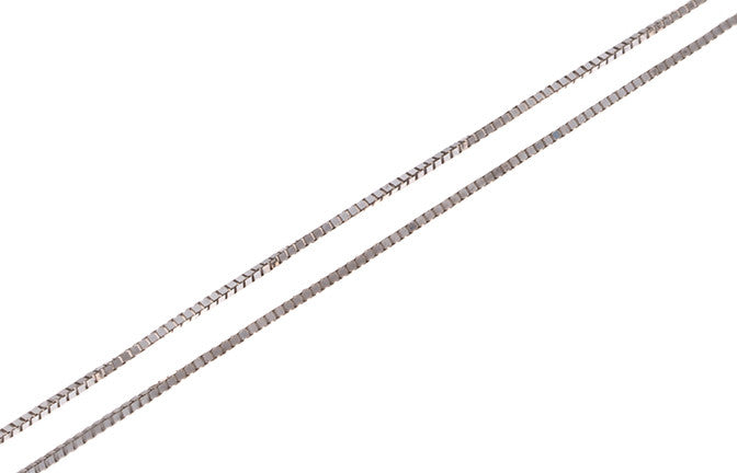 18ct White Gold Box Chain (C-3473)
