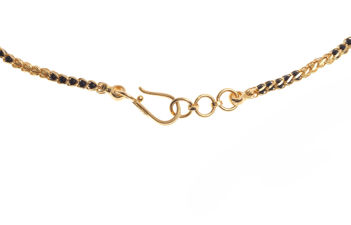 "22ct Yellow Gold 22"" Chain with Black Beads with a hook clasp (C-4011) (online price only)"