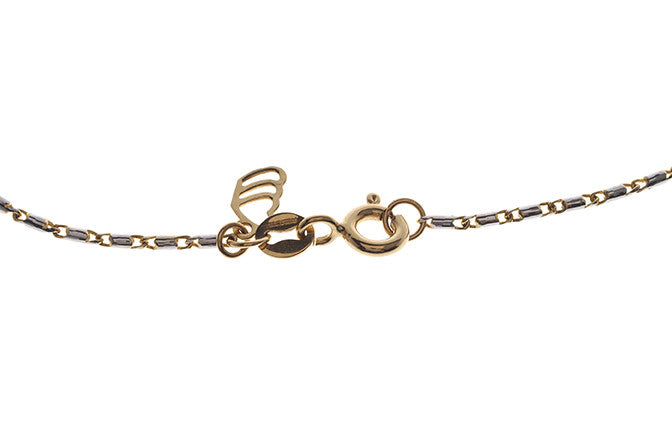 18ct Two Tone Gold Chain with Heart Charm (4.2g) (C-5866)