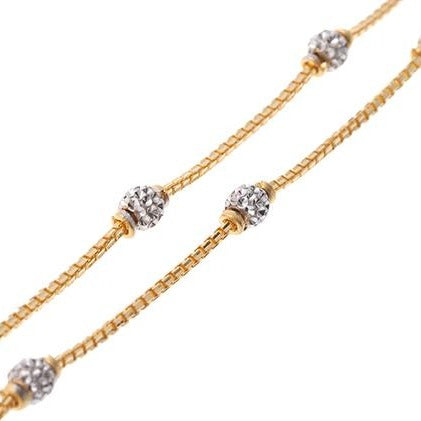 22ct Gold Box Chain with diamond cut gold beads and hook clasp (C-7125)
