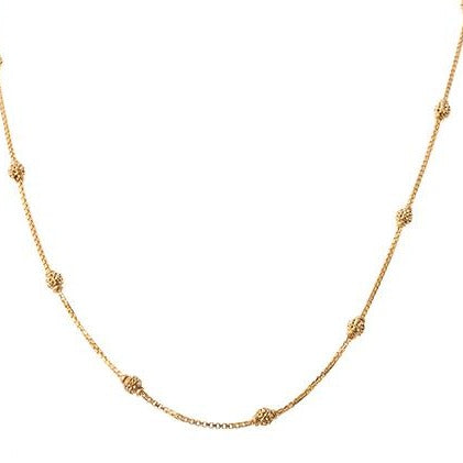 22ct Gold Box Chain with diamond cut gold beads and hook clasp C-7125