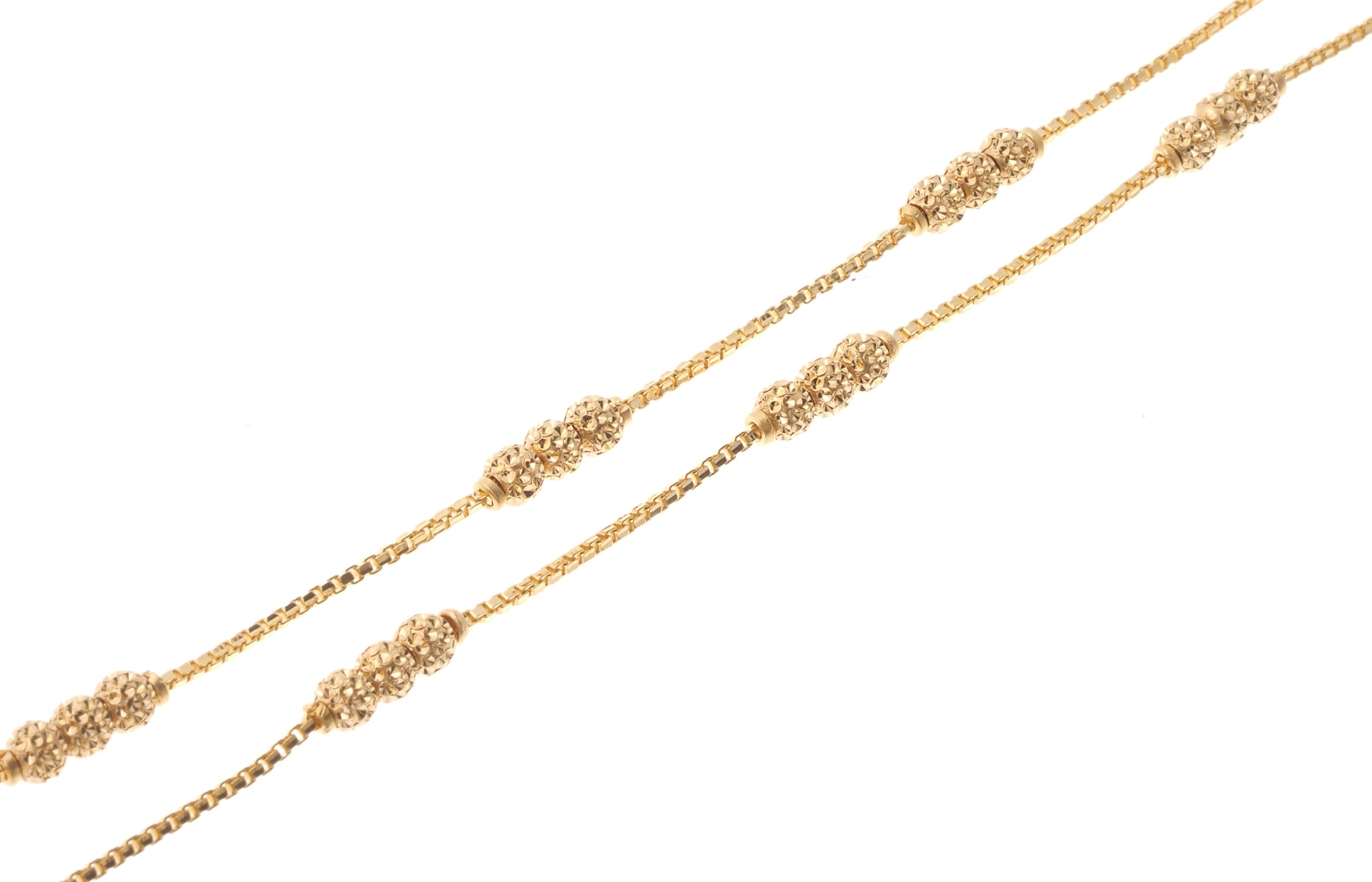 22ct Gold Box Chain with diamond cut gold beads and hook clasp C-7126