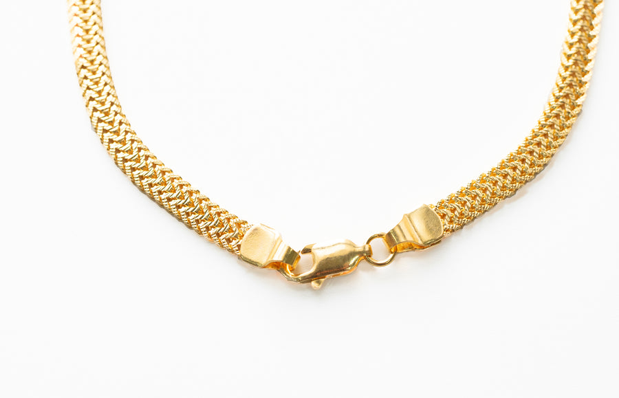 22ct Gold Flattened Double Foxtail Chain (25g) C-7558