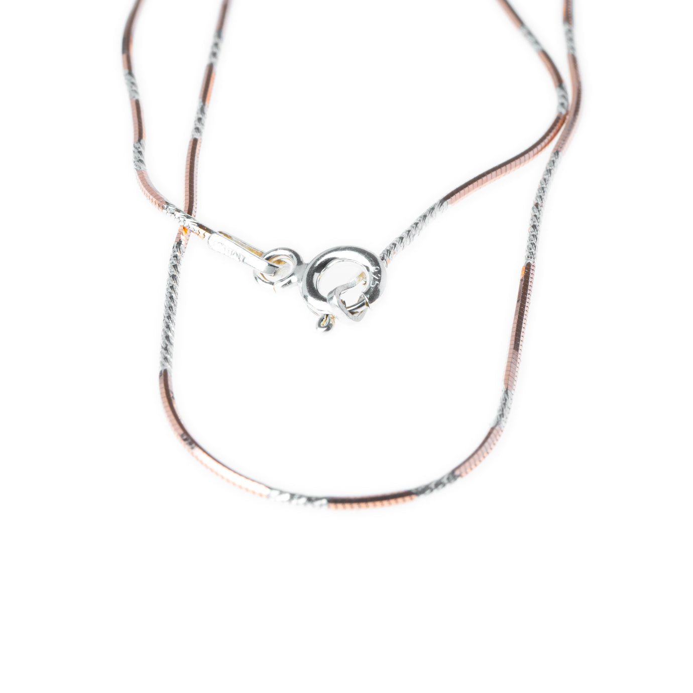 Sterling Silver Snake Chain with Rose Gold Plating with Ring Clasp C-7944