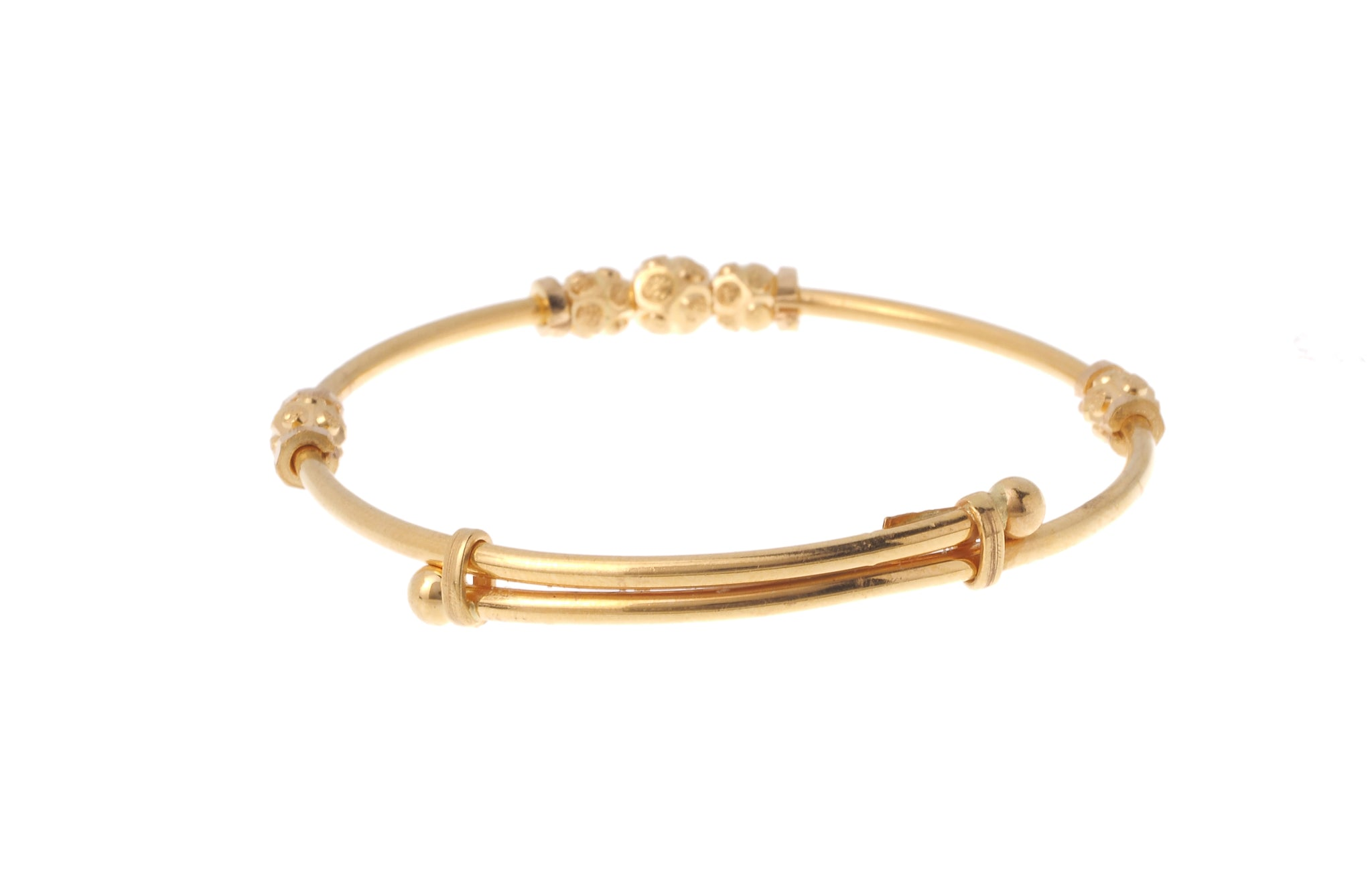 22ct Gold Adjustable Children's Bangles with Diamond Cut Design (CB-7164)