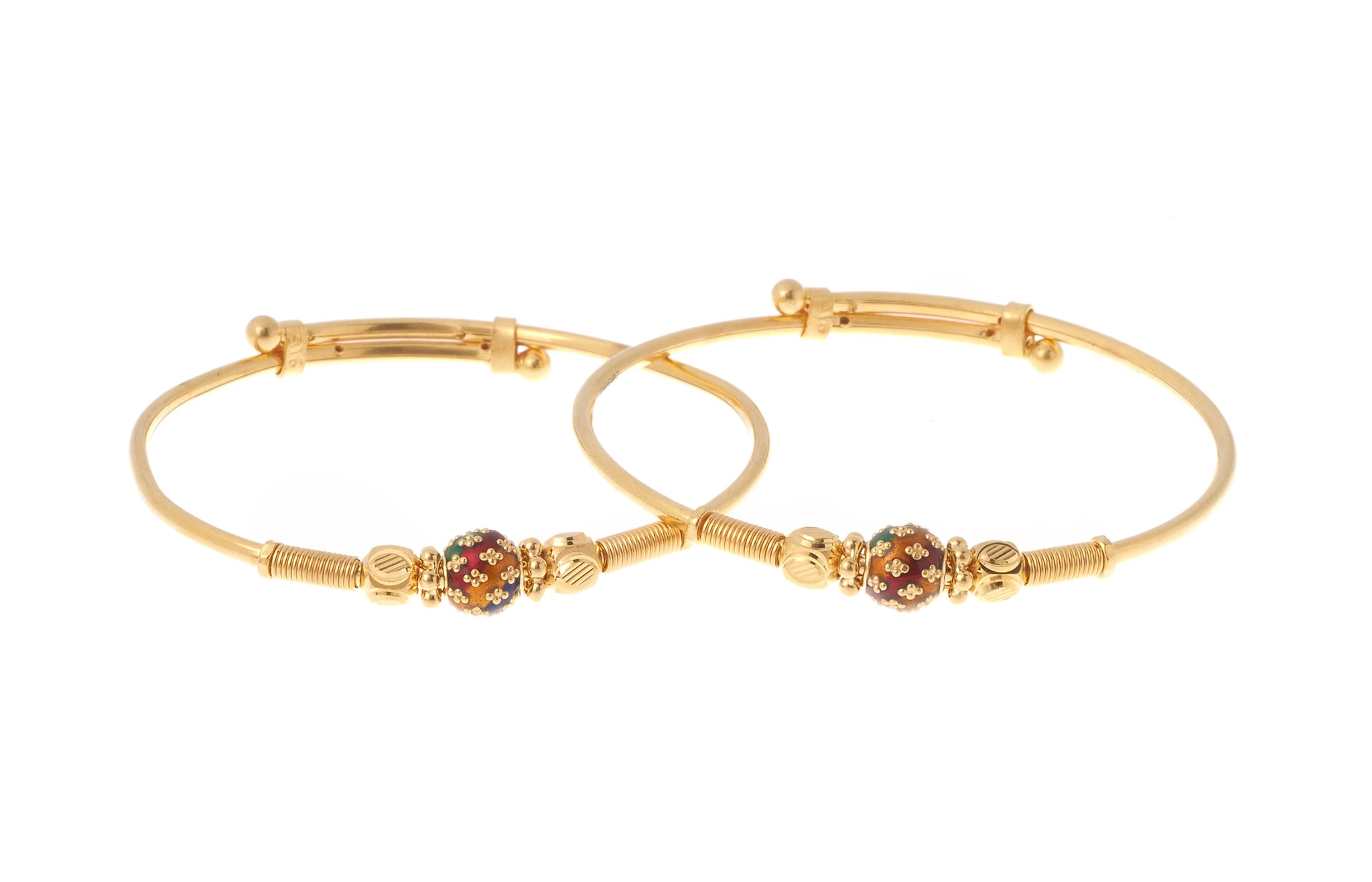 22ct Gold Adjustable Children's Bangles with Diamond Cut and Enamel Design CB-7170