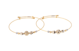 22ct Gold Adjustable Children's Bangles with Diamond Cut and Rhodium Design (CB-7171)