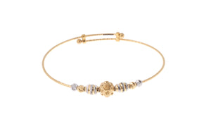 22ct Gold Adjustable Children's Bangles with Diamond Cut and Rhodium Design (CB-7173)