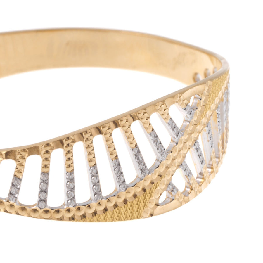 22ct Gold Children's Bangle with Diamond Cut and Rhodium Design (CB-7174)