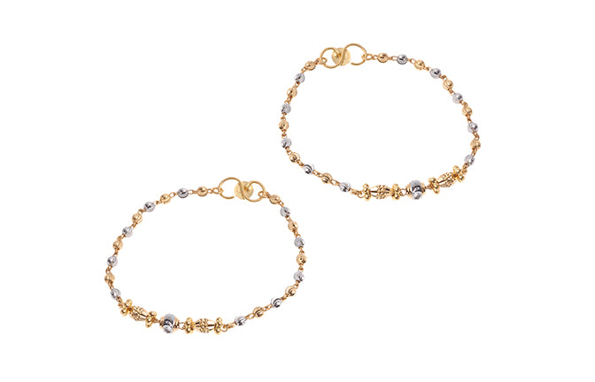 22ct Yellow Gold Children's Bracelets with Rhodium Design (CBR-6055)