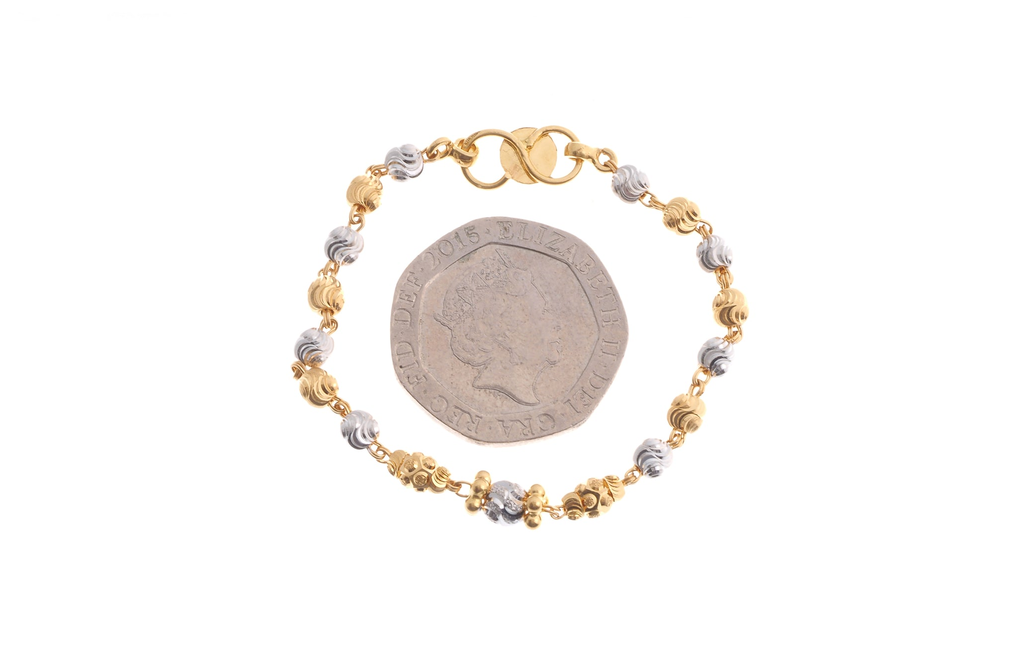 22ct Gold Children's Bracelet with Rhodium Design (3.15g) (CBR-6610)