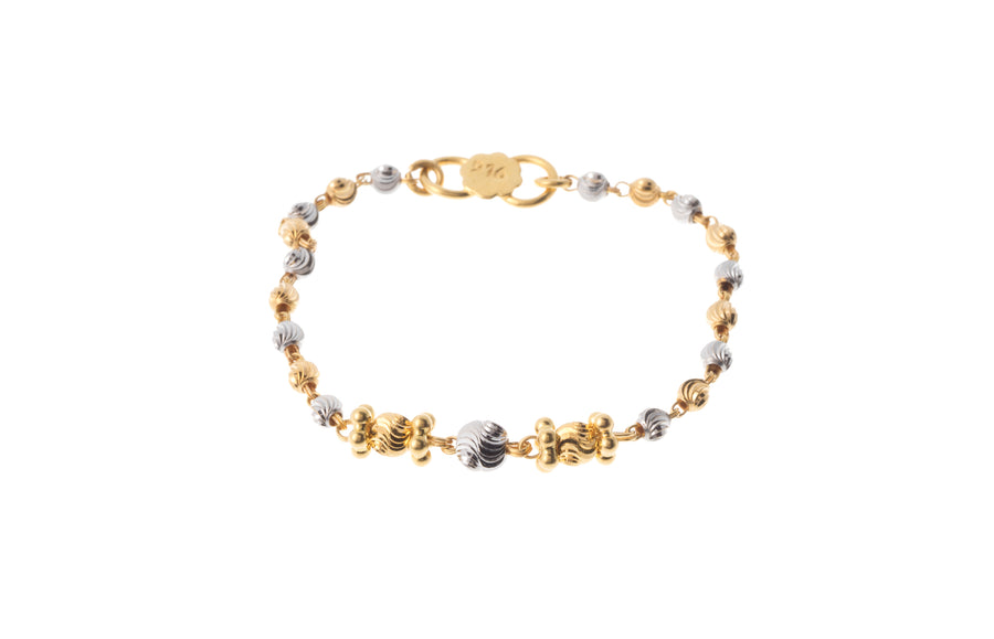 22ct Gold Children's Bracelets with Diamond Cut and Rhodium Design (CBR-7275)
