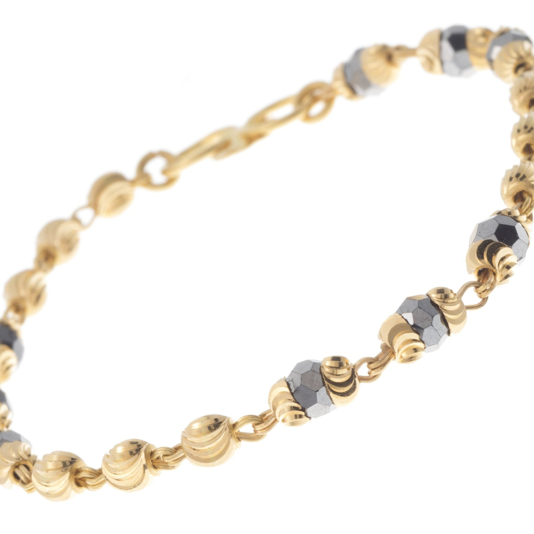 22ct Gold Children's Bracelets with Rhodium and Diamond Cut Design CBR-7380