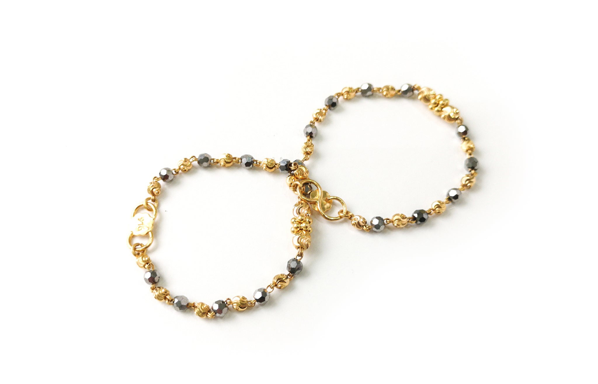 22ct Gold Children's Bracelets with Silver Faceted Crystals and Diamond Cut Gold Beads CBR-7713