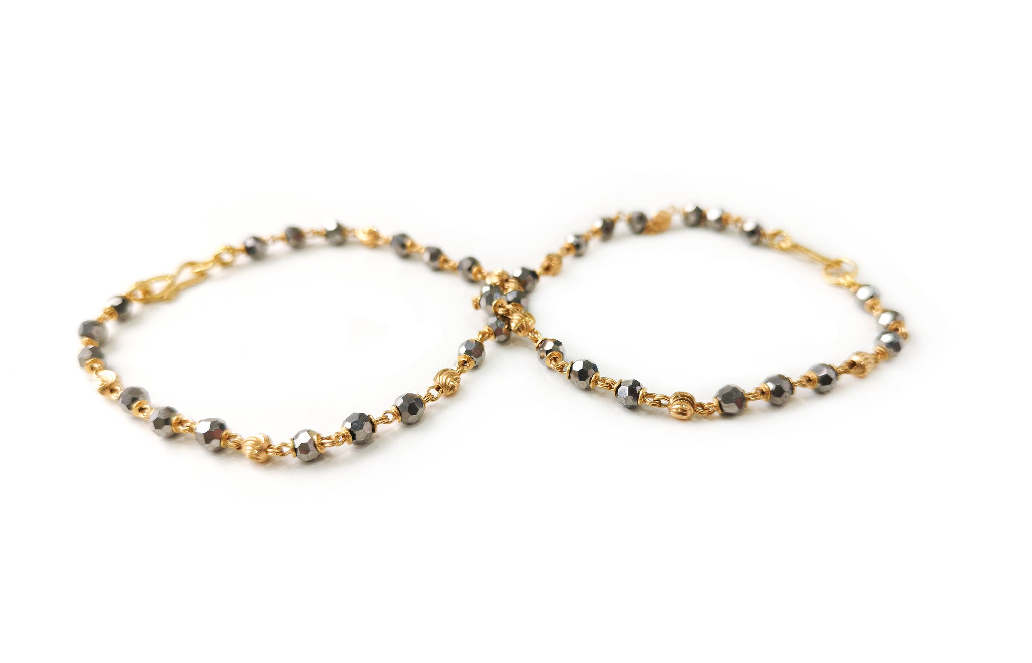 22ct Gold Children's Bracelets with Faceted Crystals and Diamond Cut Gold Beads CBR-7716