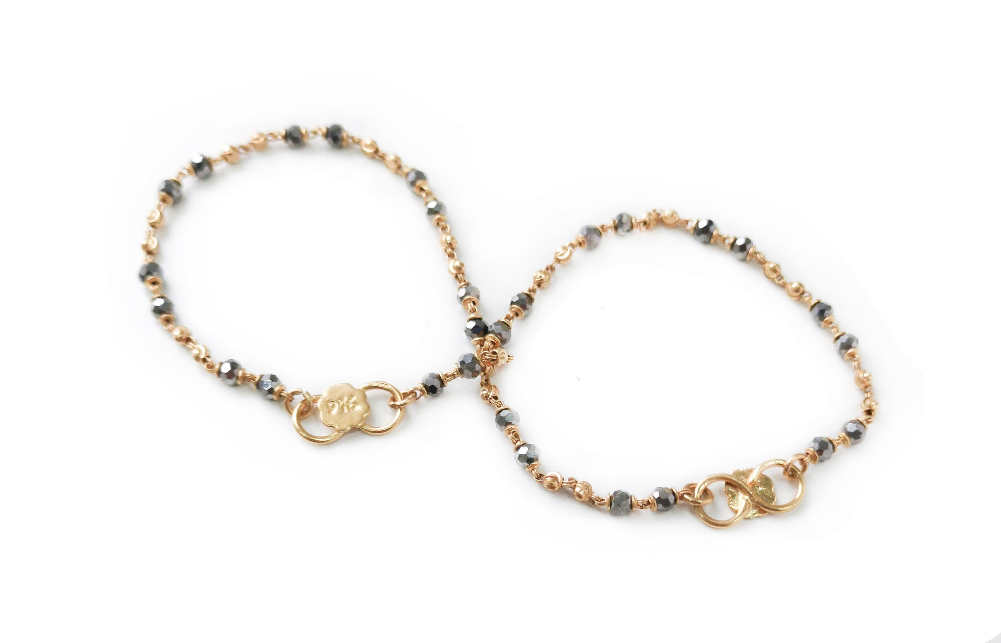 22ct Gold Children's Bracelets with Silver Faceted Crystals and Diamond Cut Gold Beads CBR-7717