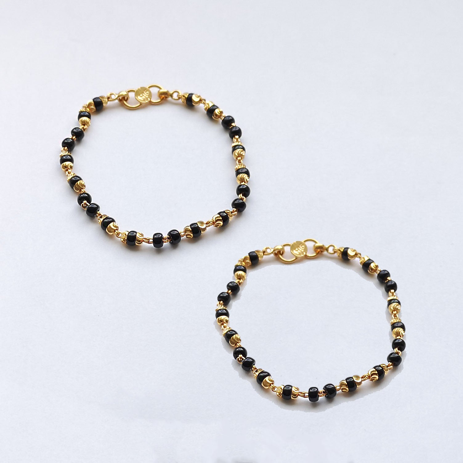 22ct Gold Children's Bracelets with Black Beads and Diamond Cut Design CBR-7910