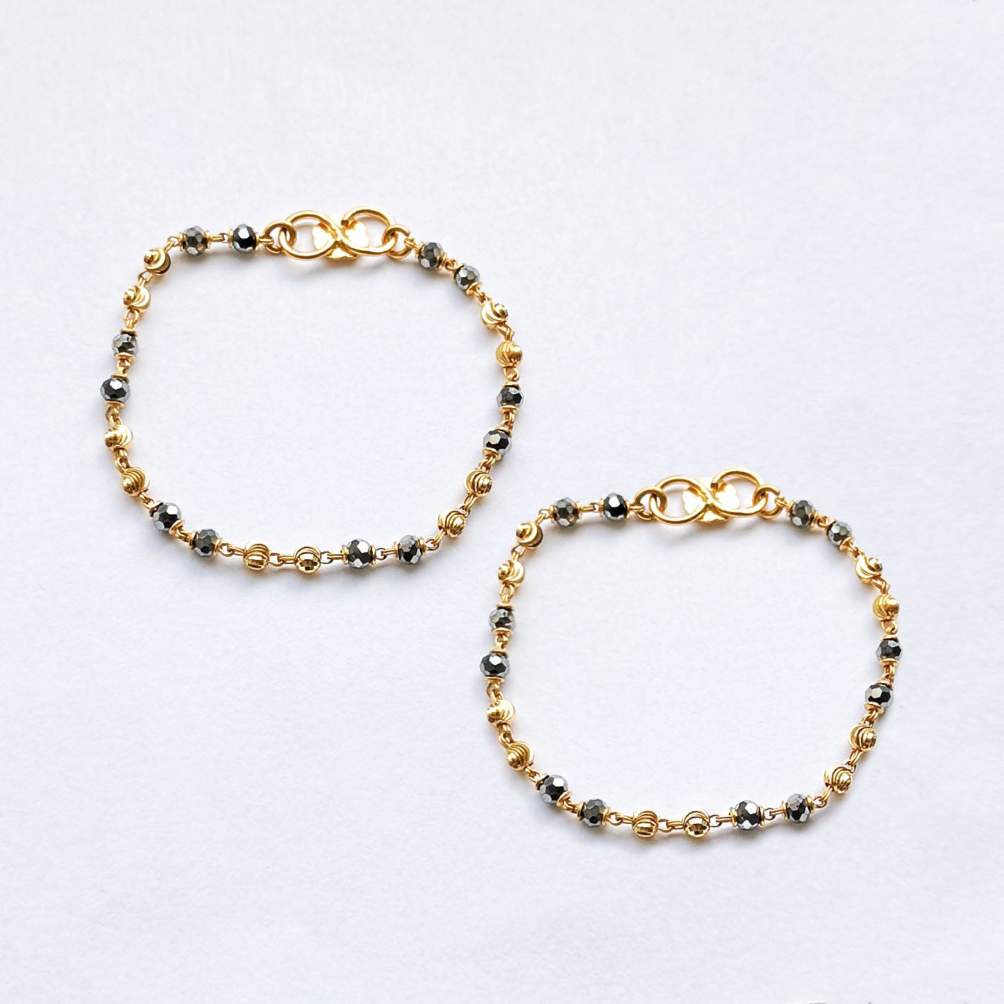 22ct Gold Children's Bracelets with Faceted Beads and Diamond Cut Design CBR-7911