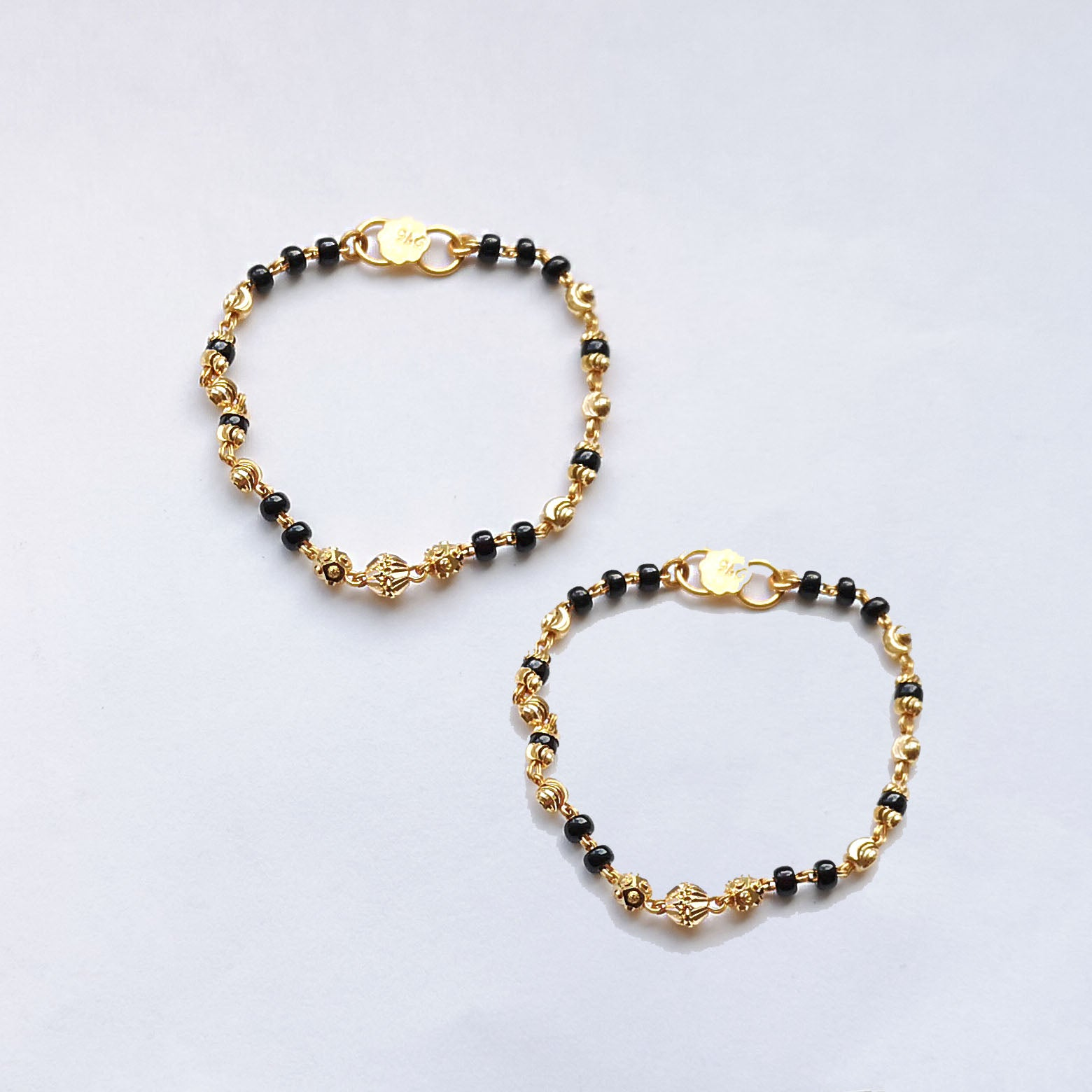 22ct Gold Children's Bracelets with Black Beads and Diamond Cut Design CBR-7912