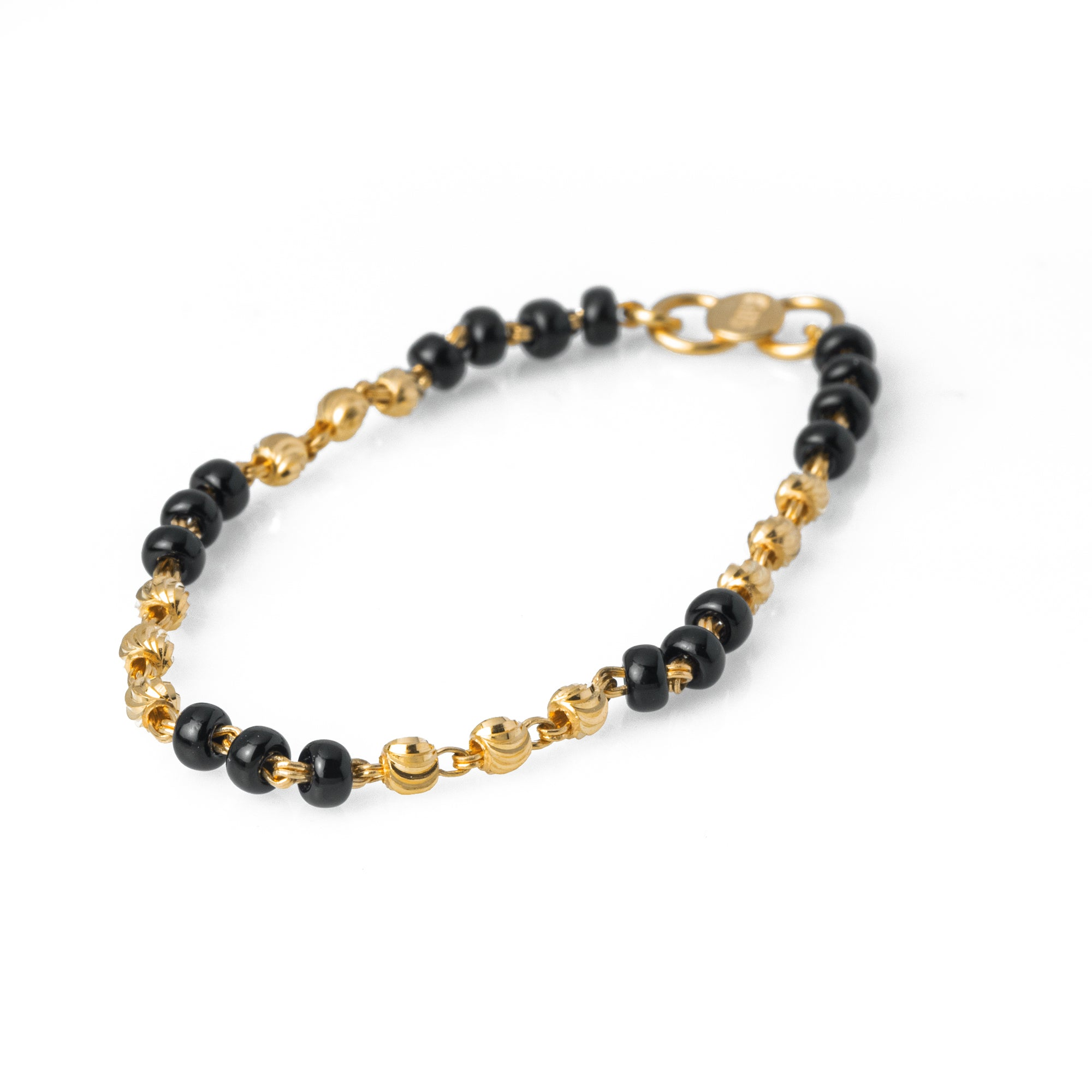 22ct Gold Children's Bracelets with Diamond Cut Design and Black Beads CBR-7966