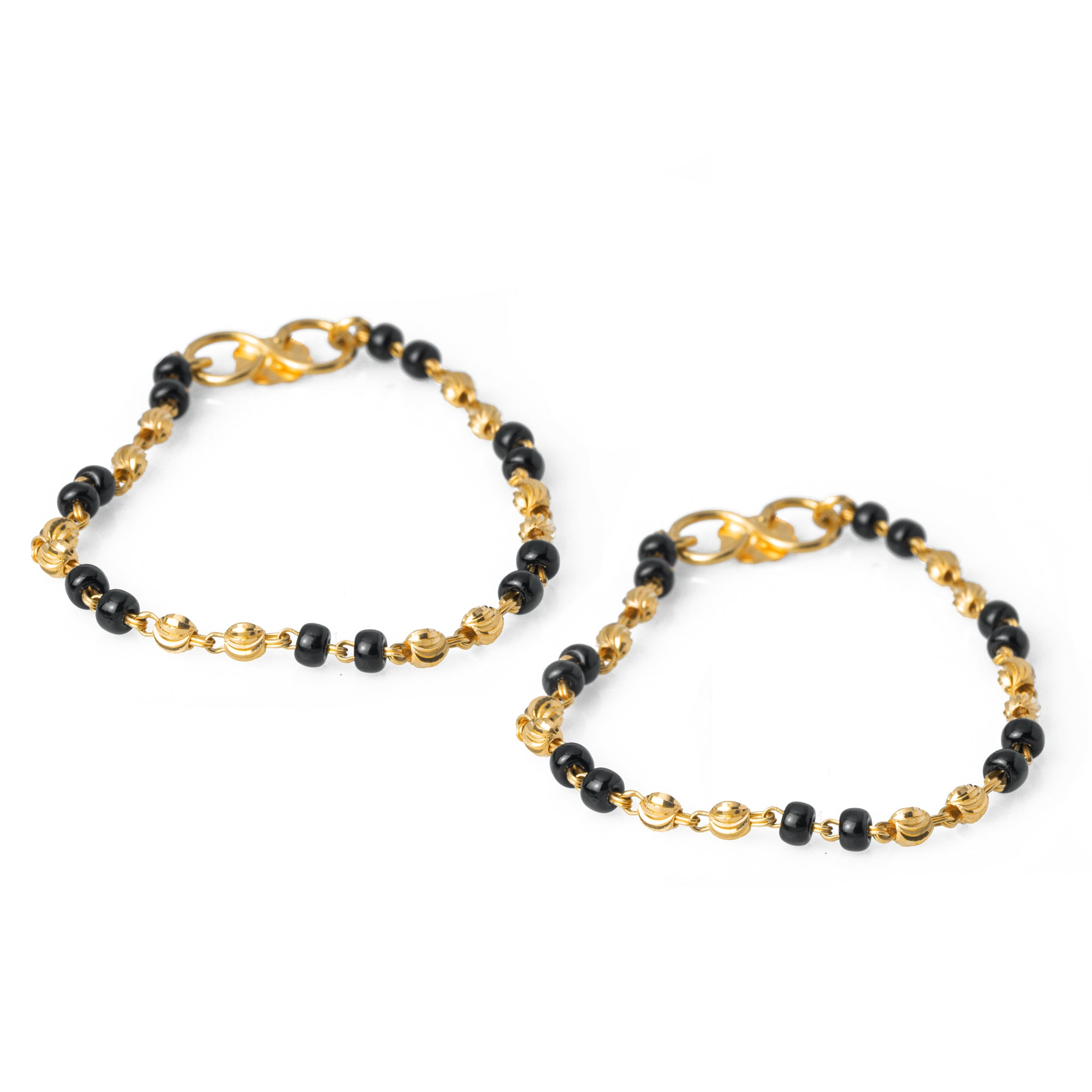 22ct Gold Children's Bracelets with Black Beads CBR-7969