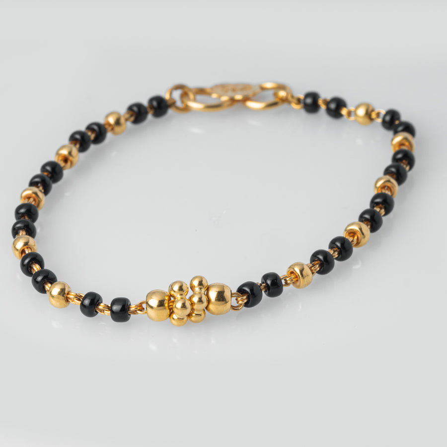 22ct Gold Children's Bracelets with Diamond Cut Design and Black Beads CBR-7971