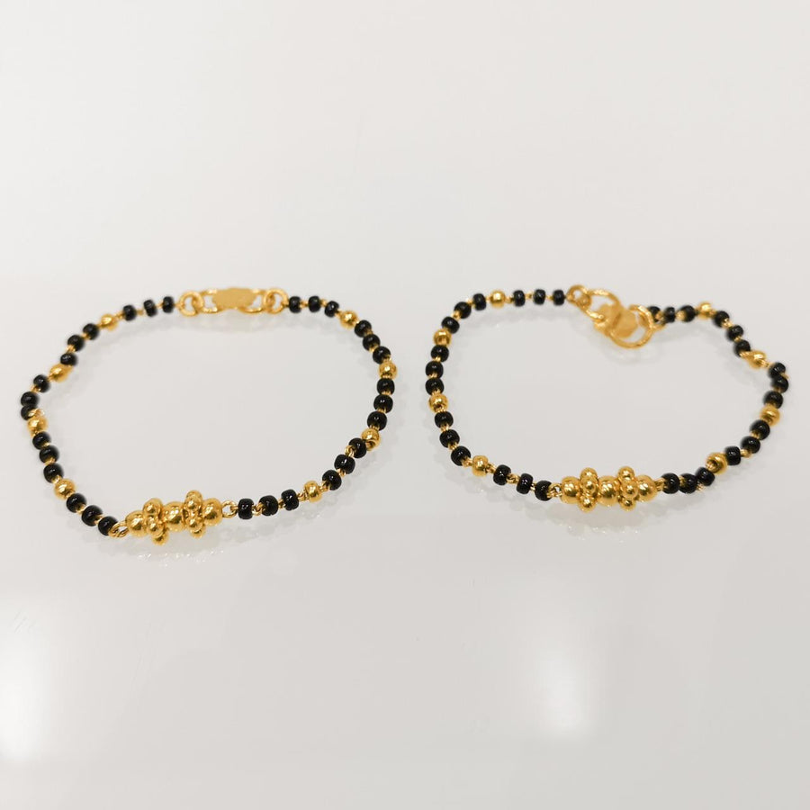 22ct Gold Children's Bracelets with Black Beads CBR-8093