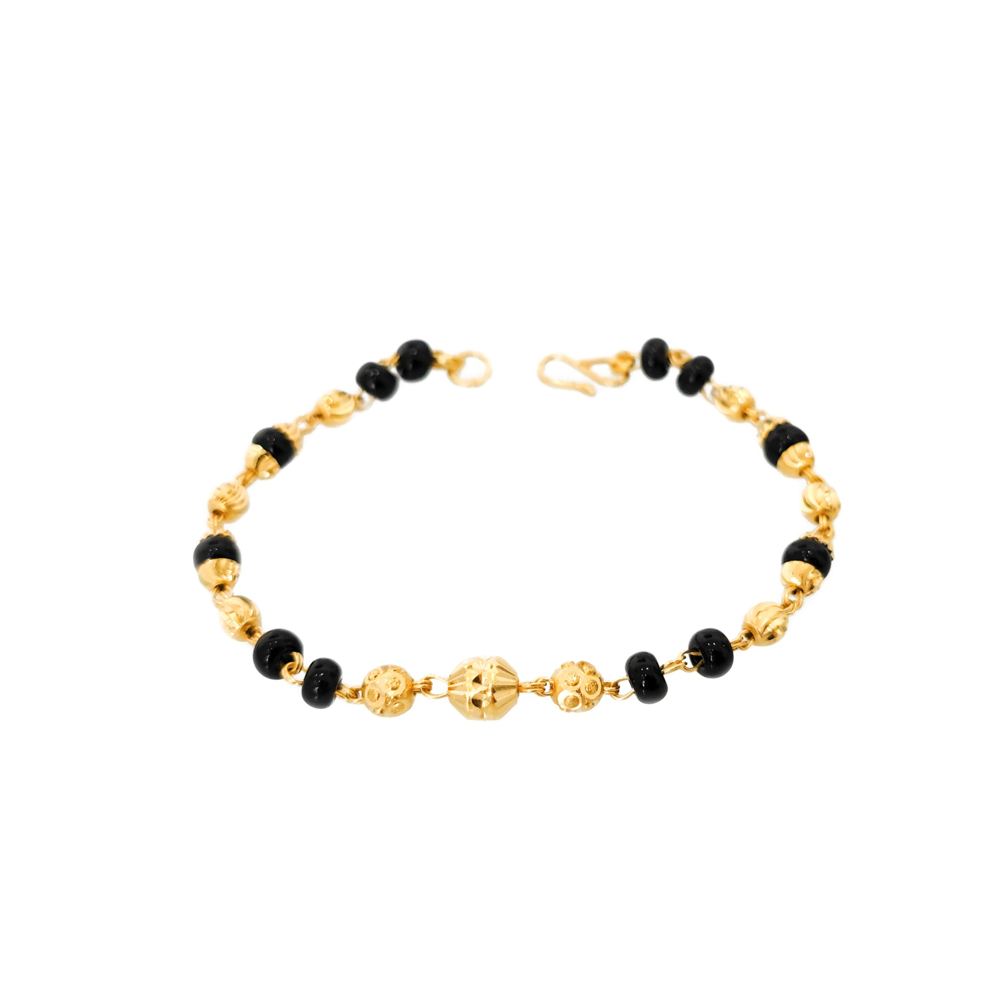 22ct Gold Children's Bracelets with Diamond Cut Design and Black Beads CBR-8172