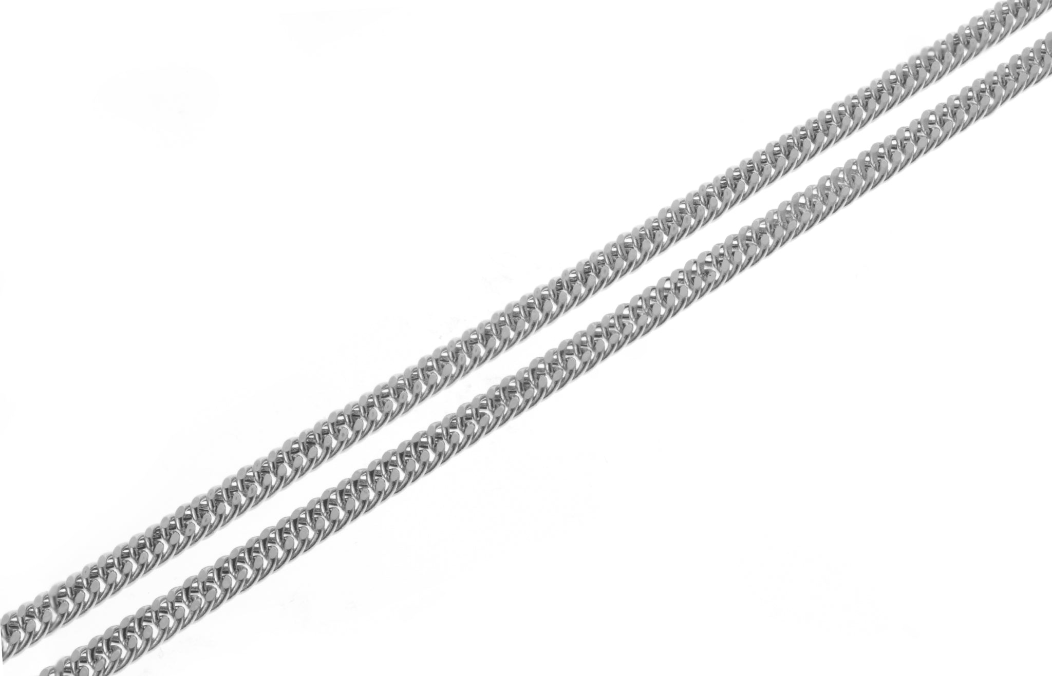 18ct White Gold Curb Link Chain with Ring Clasp CH-09288