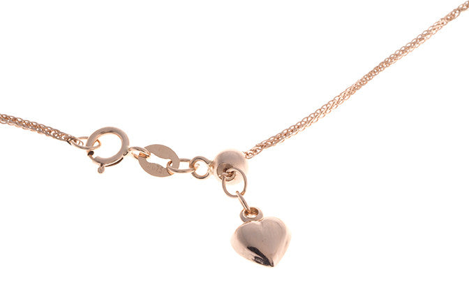 18ct Rose Gold Chain with Heart Charm and Ring Clasp (CH-10612-RR-45H)
