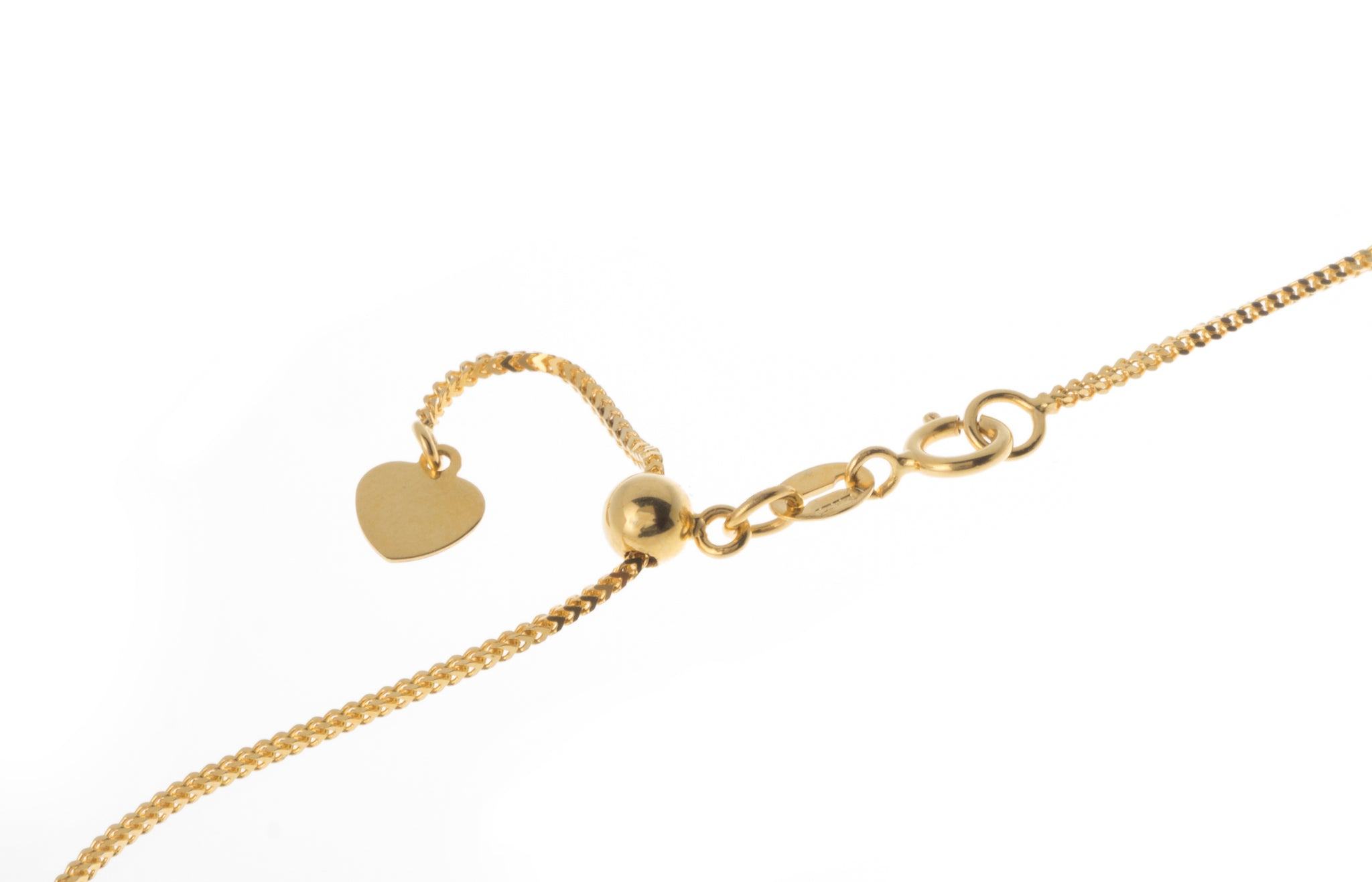 18ct Yellow Gold Adjustable Chain with Heart Charm and Ring Clasp (3.3g) CH-11196