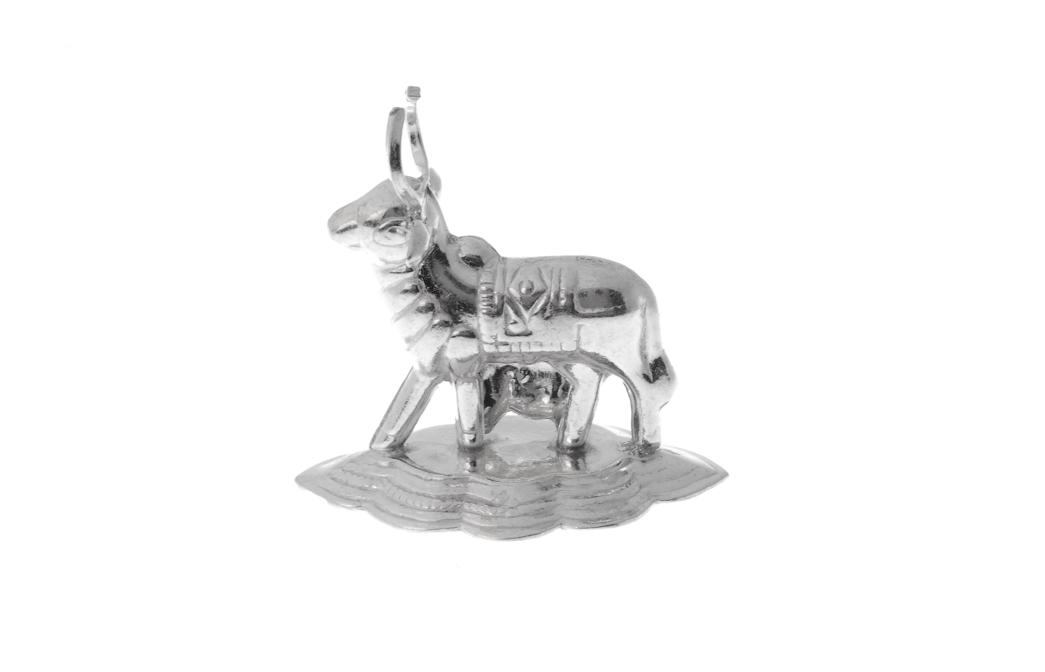 Silver Plated White Metal Cow Idol (COW1)