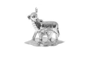 Silver Plated White Metal Cow Idol (COW3)